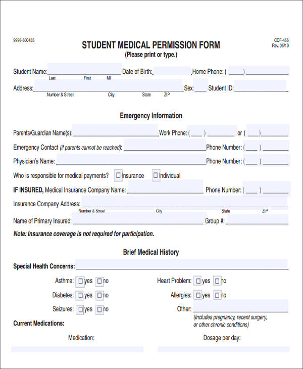 medical student permission form