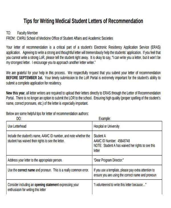 medical student reference letter