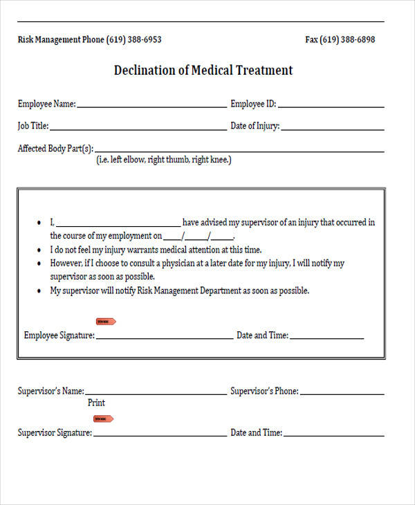 medical treatment declination form
