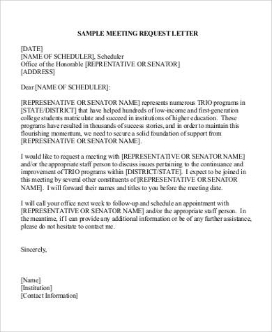 Exceptional Meeting Appointment Request Letter Format