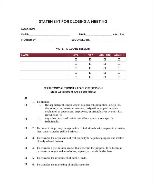 meeting closing statement form