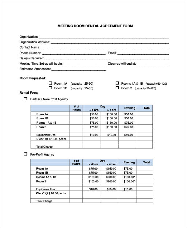 meeting room rental agreement form