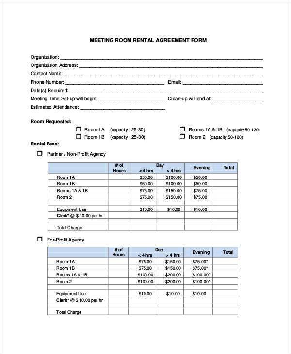 meeting room rental agreement form