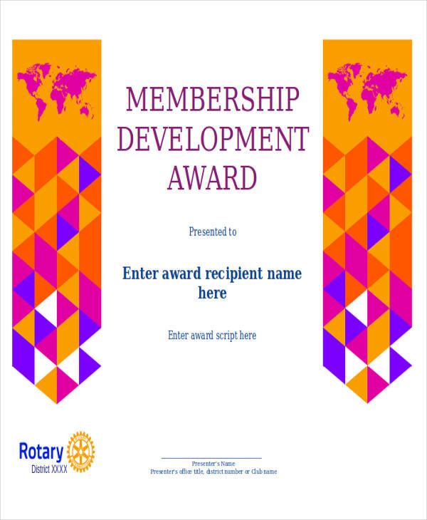 membership development award certificate