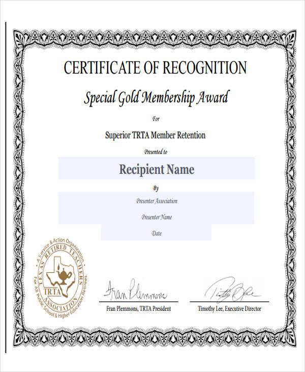 membership recognition award certificate