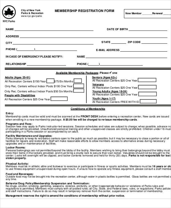 membership registration form sample1