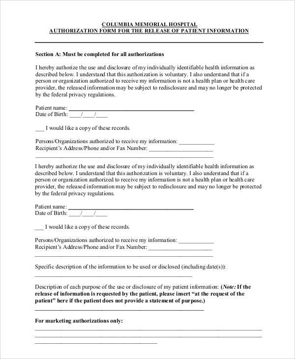 memorial hospital release form