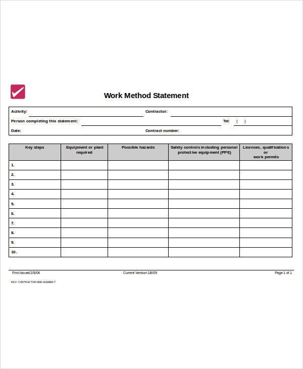 method of work statement form