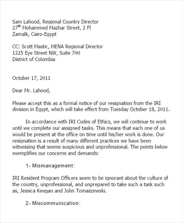military officer resignation letter