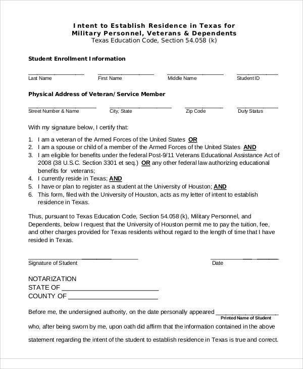 military student letter of intent