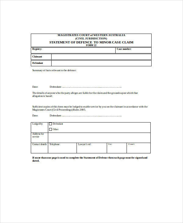 minor case defence statement form