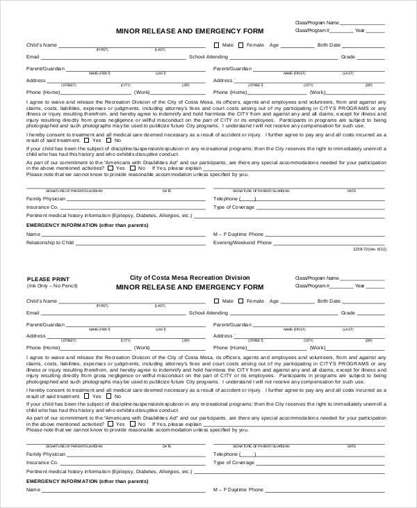 minor emergency release form