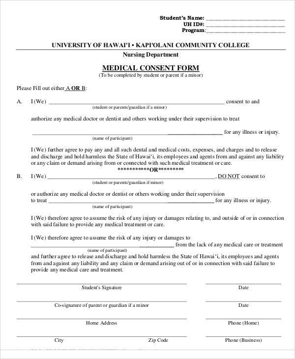 minor medical consent form