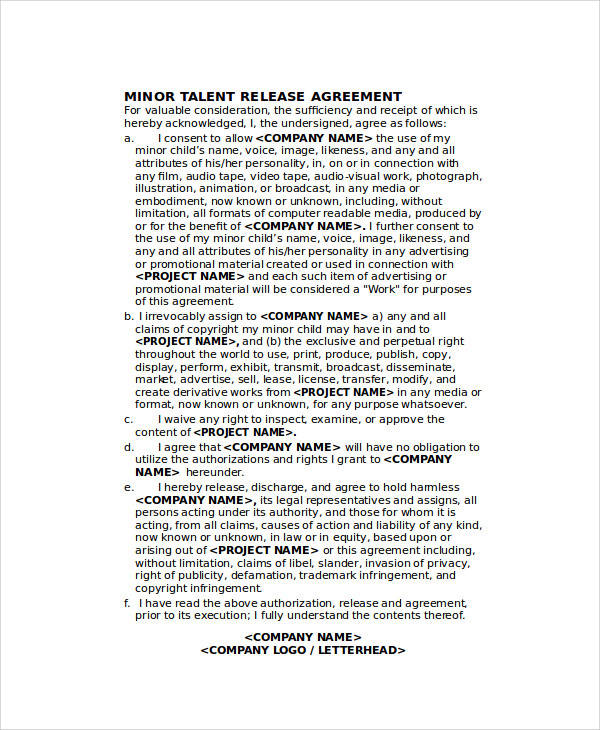 minor talent release agreement form