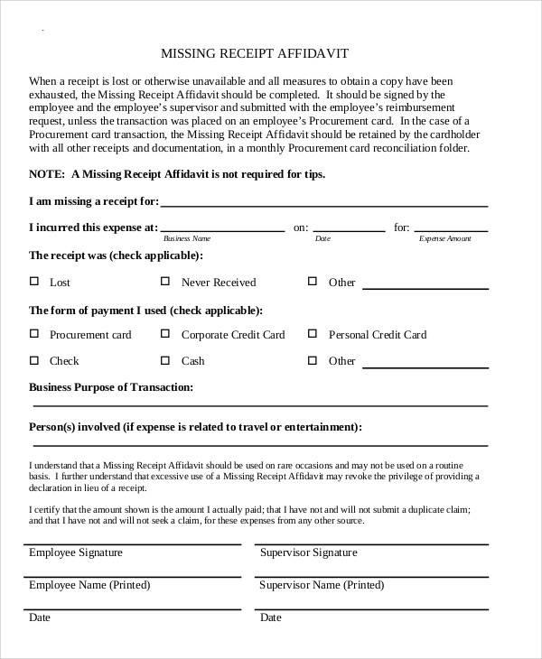 missing receipt affidavit form