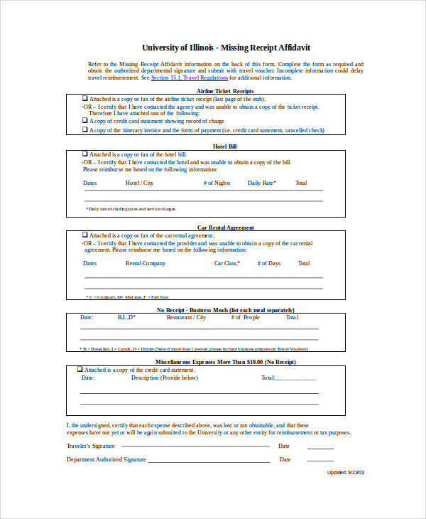missing receipt affidavit form1