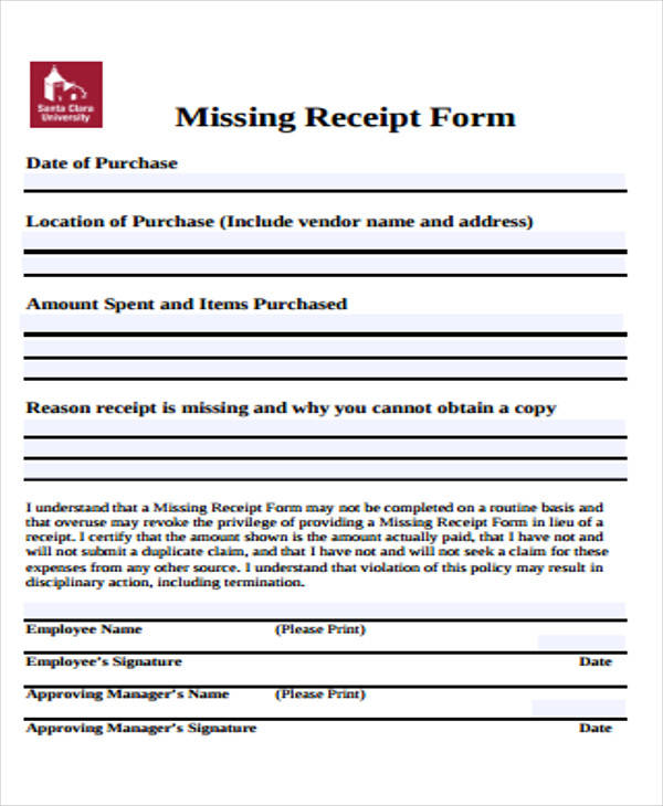 missing receipt form