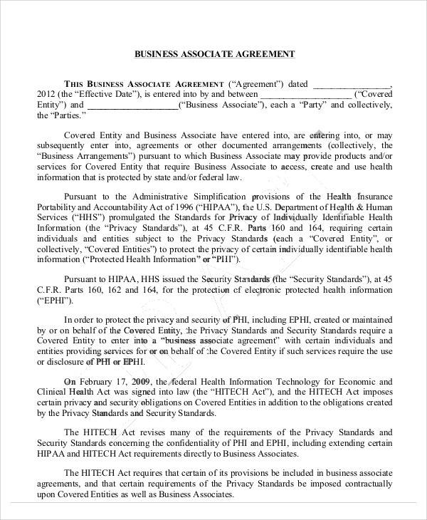 model business associate agreement