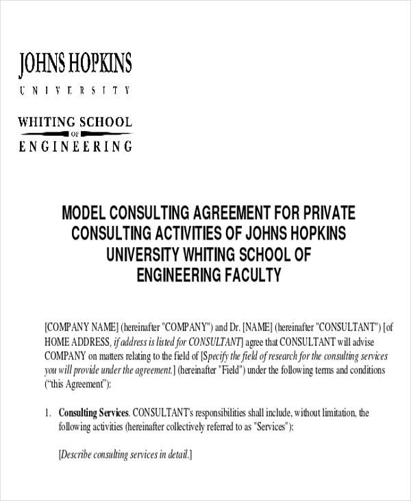 model consulting private agreement