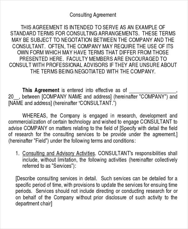 model consulting services agreement