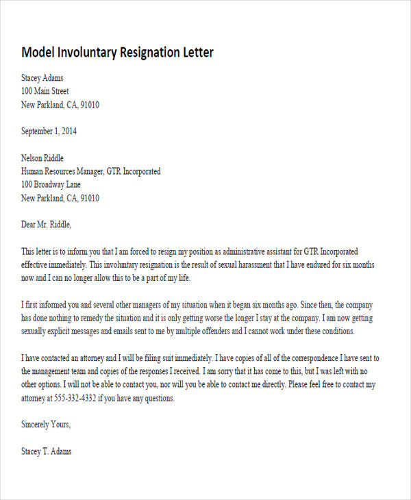 34 sample resignation letter templates sample templates model resignation letters spiritdancerdesigns Choice Image