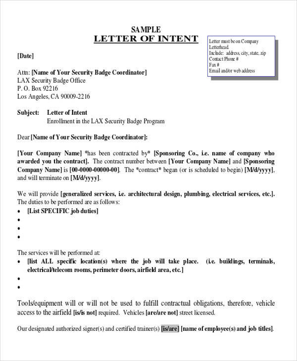 60 Sample Letter Of Intent