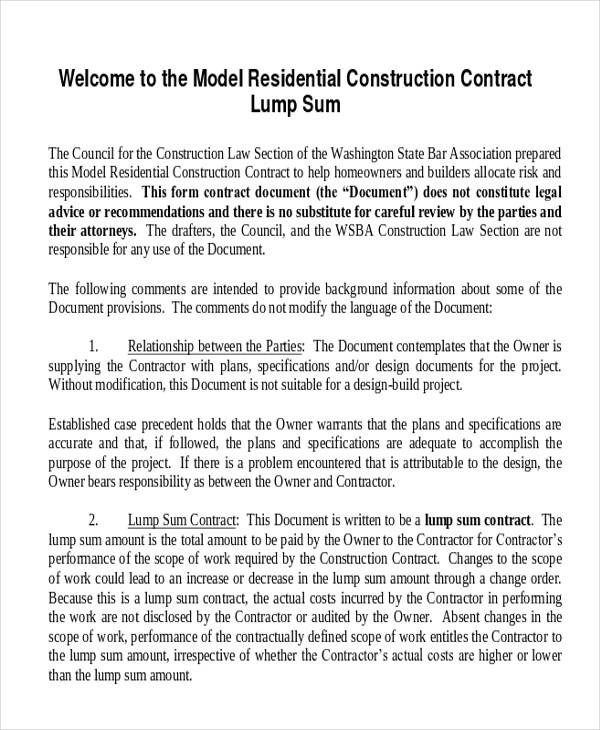 model residential construction contract