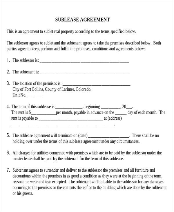 model sublease business agreement form