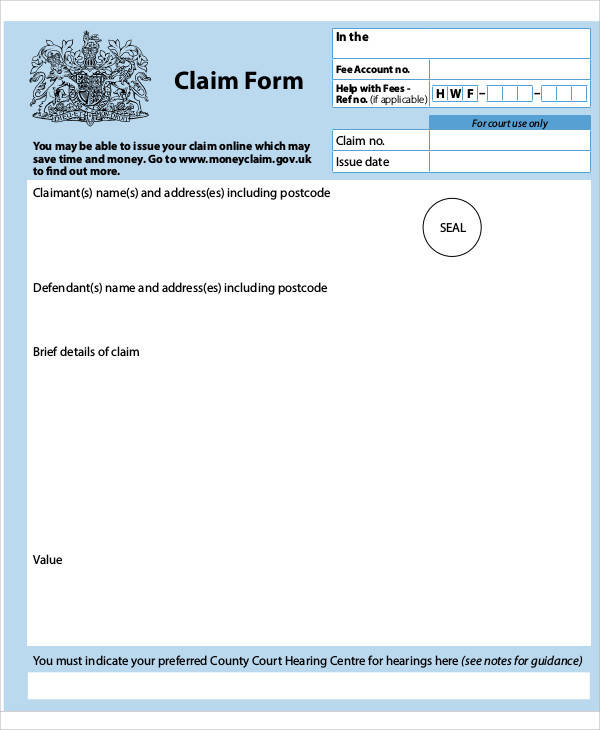 money claim form sample