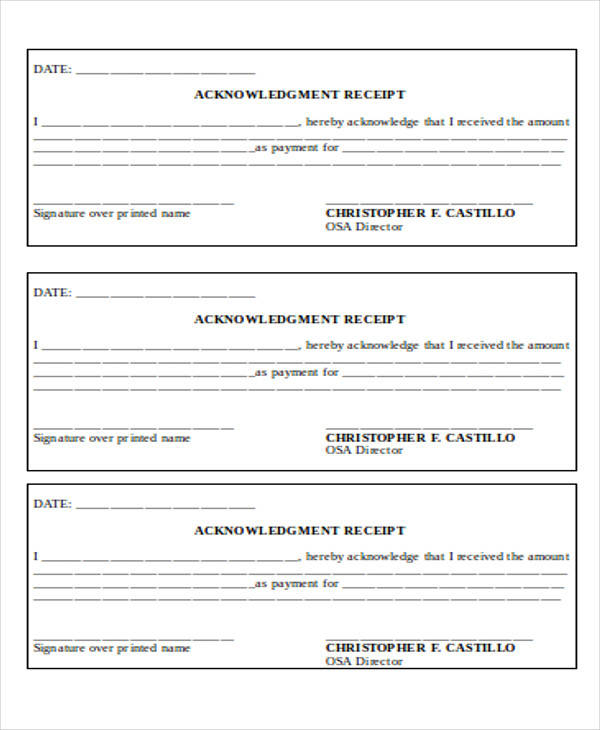 money receipt acknowledgment form