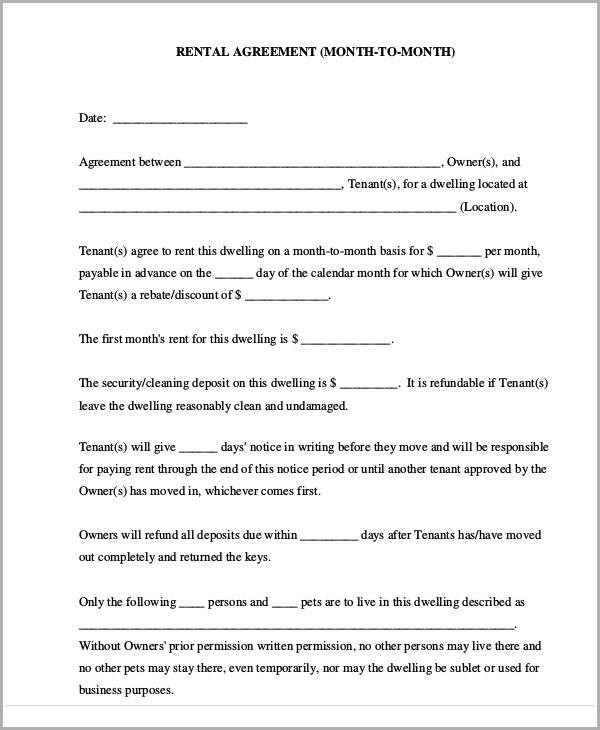month to month rental agreement2