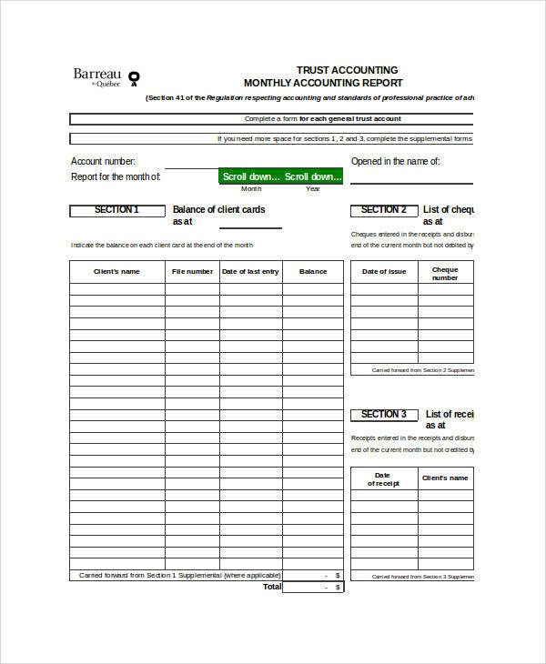 monthly accounting report in excel
