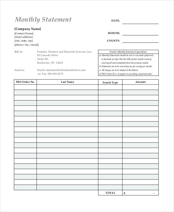 Free Statement Forms  WowcircleTk
