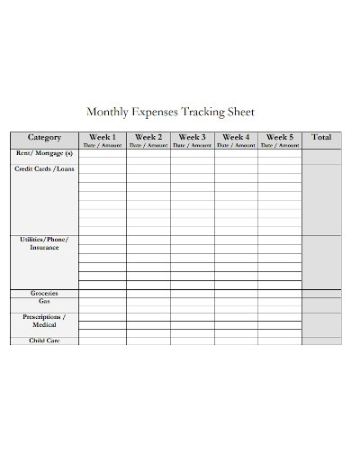 monthly expenses tracking sheet