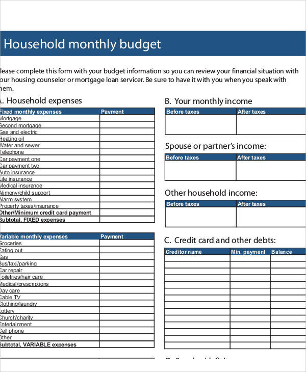 Sample Budget Form