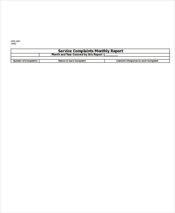 monthly service report