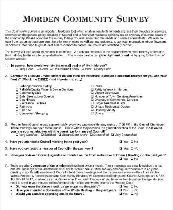 morden community survey form