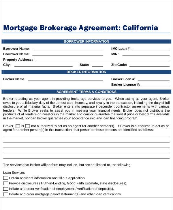 mortgage brokerage agreement