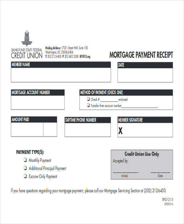 mortgage payment receipt form