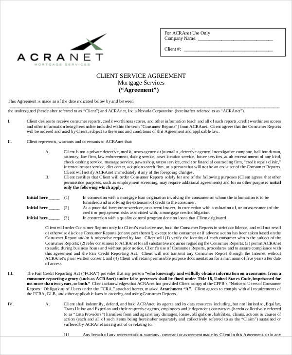 mortgage service agreement