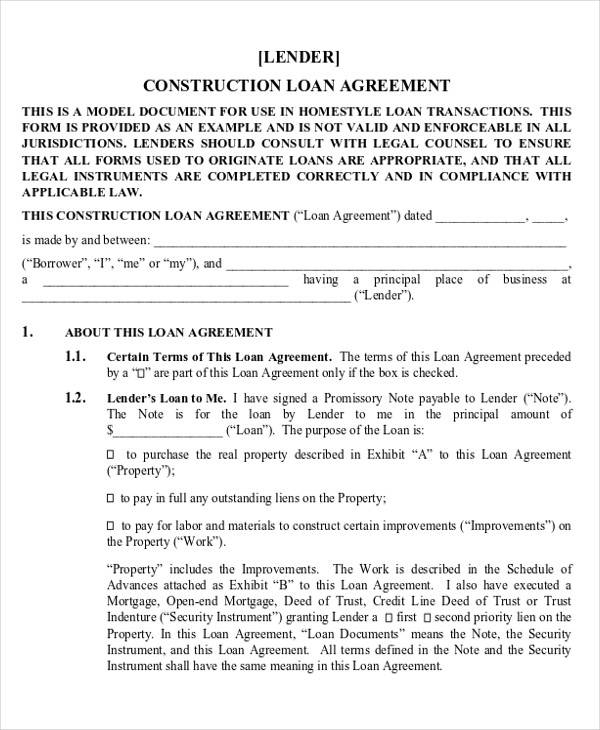 multistate construction loan agreement