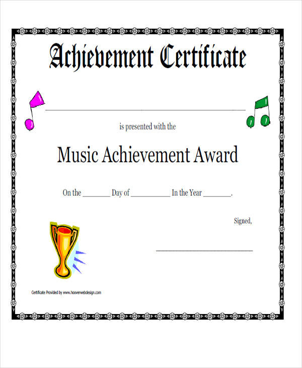 music achievement award certificate
