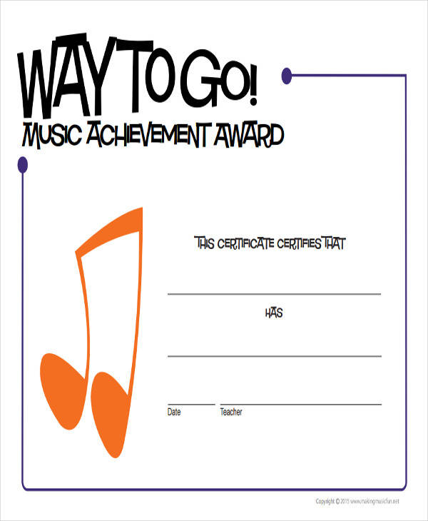 music achievement award certificate1
