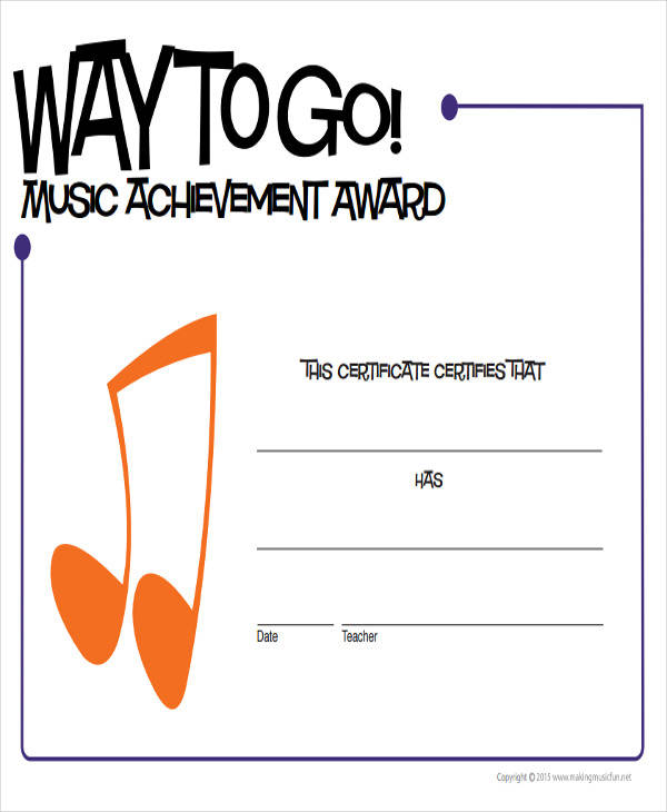 music achievement award certificate2