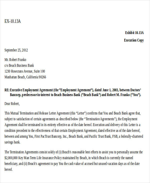 key man insurance agreement template  30  Termination Letter Formats | Sample Templates
