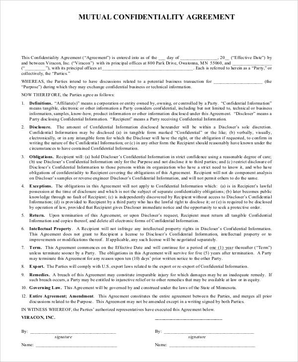 Basic Agreement Form – Mutual Confidentiality Agreement