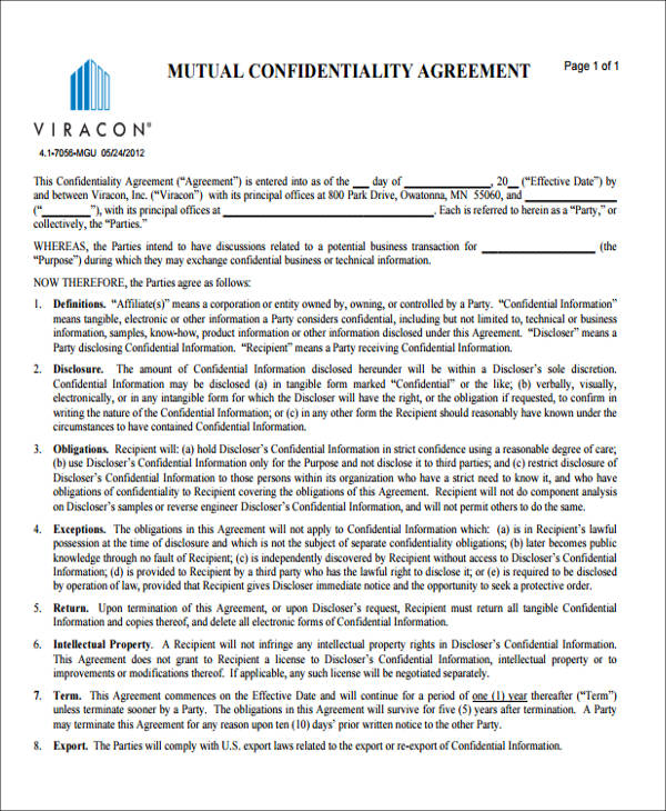 mutual confidentiality agreement form4