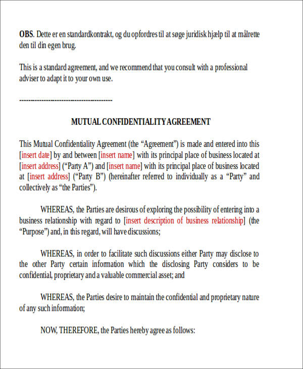 mutual confidentiality agreement form5