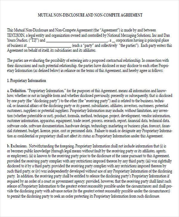mutual non compete non disclosure agreement