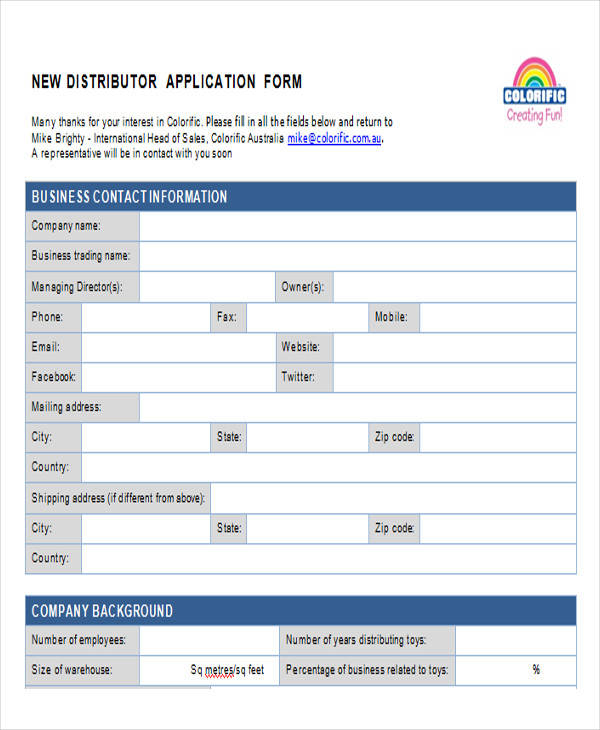 new distributor application form